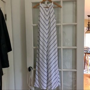J Crew blue white striped sleeveless maxi dress